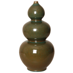 Triple Gourd Ceramic Vase  – Amazon Green