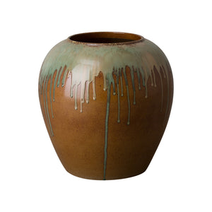 Wide Ceramic Vase  with Drip Glaze – Earth Brown