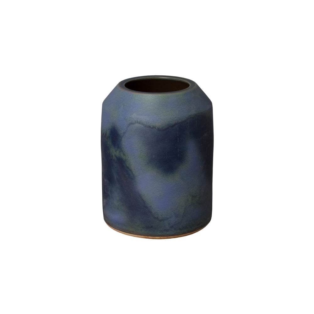 Verdi Blue Ceramic Cylinder Jar – Small