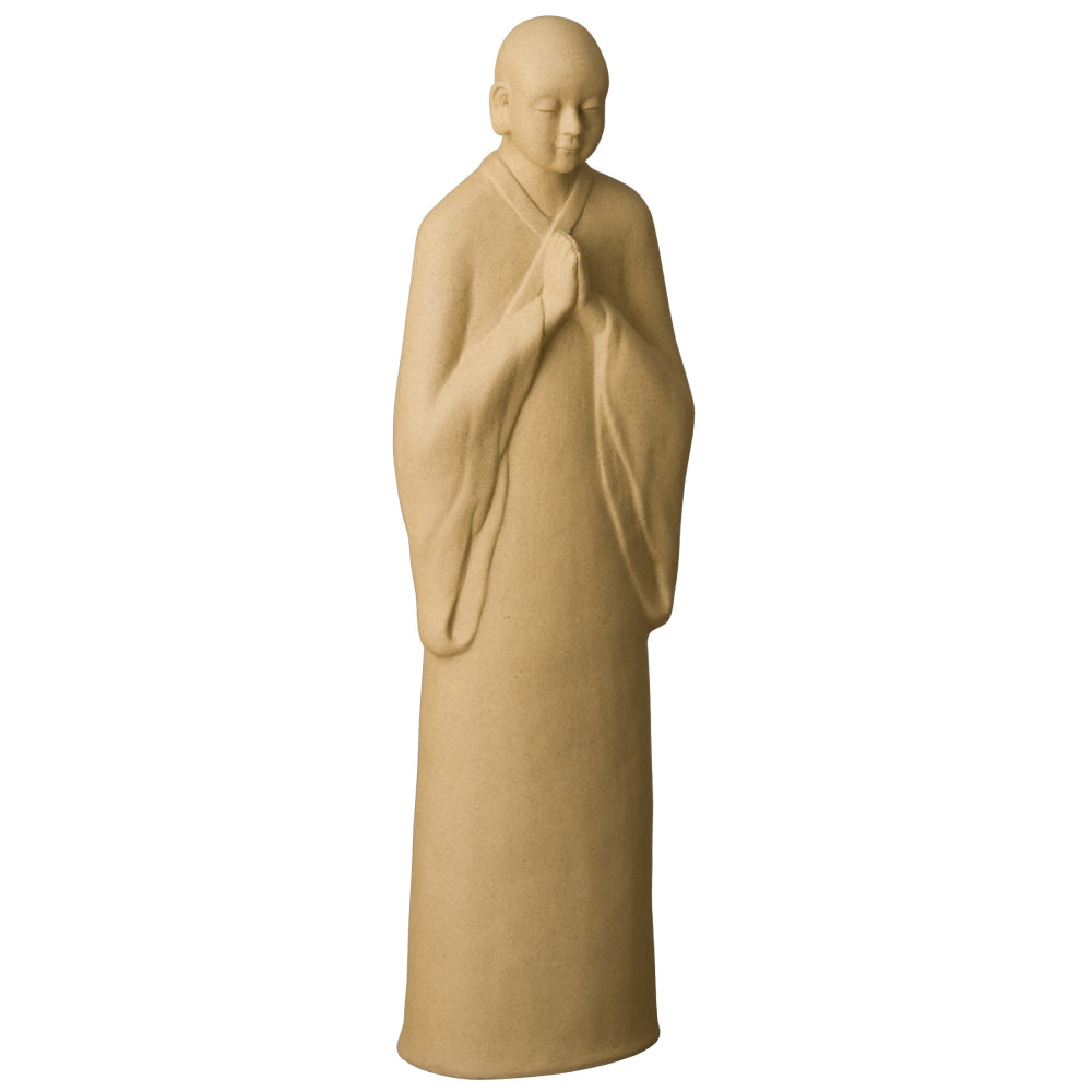 Decorative Ceramic Zen Monk Sculpture – Light Ash