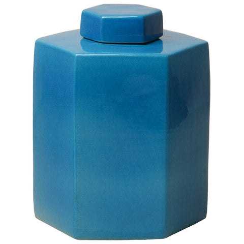 Hexagon Tea Canister - Deep Turquoise