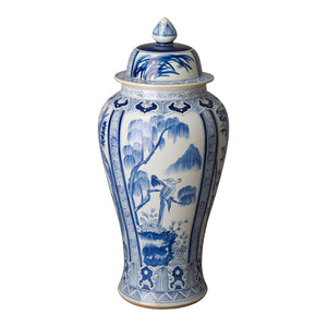 Extra Large Hand Painted Ceramic Temple Jar – Blue & White