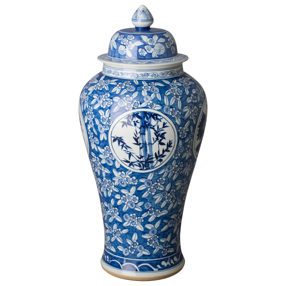 Extra Large 4 Seasons Ceramic Temple Jar – Blue & White