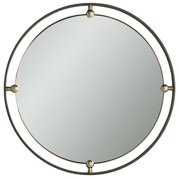 Arteriors Janey Round Iron Frame Mirror with Brass Accents