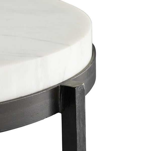 Arteriors Kelsie Tripod Iron Side Table with Round White Marble Top