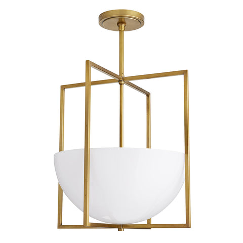 Arteriors Royce Geometric Pendant with Opal Glass – Antique Brass