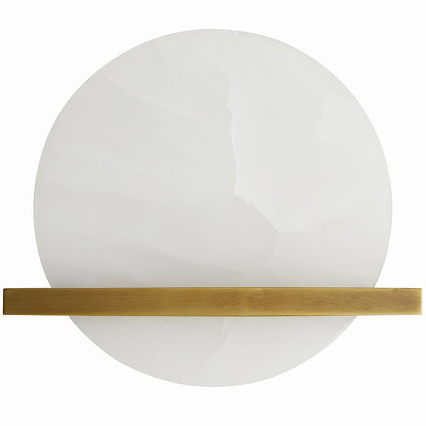 Arteriors Savion Onyx Disk Wall Sconce in Antique Brass