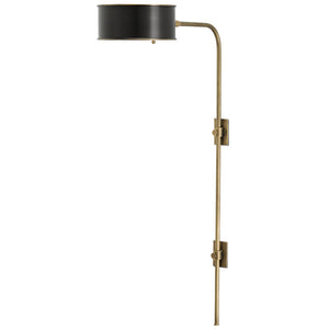 Currey and Company Tall Antique Brass & Wrought Iron Wall Sconce