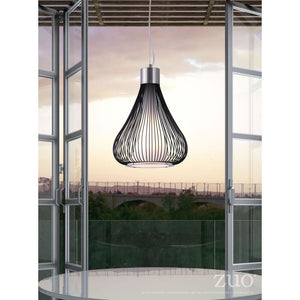 Wire Tear Drop Pendant Light — Black