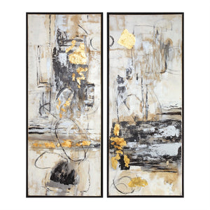 Large Abstract Life Scenes Artwork with Gold Highlights – Set of 2