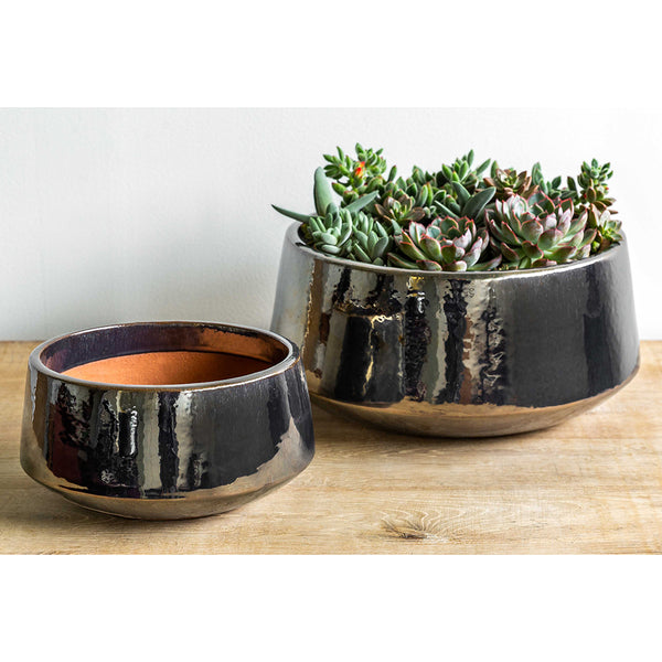 Metallic Silver Glazed Terra Cotta Planters – Set of 2