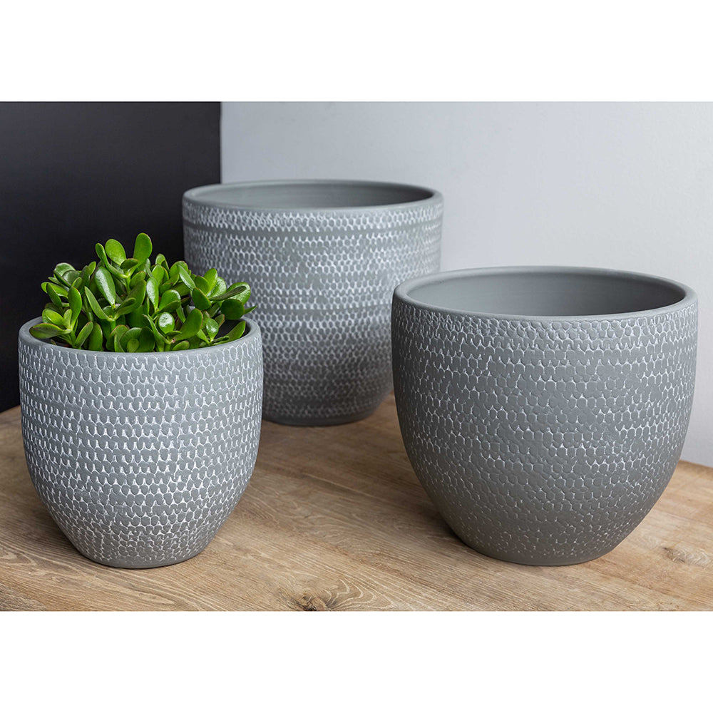 Grey Scalloped Round Planters – Set of 3