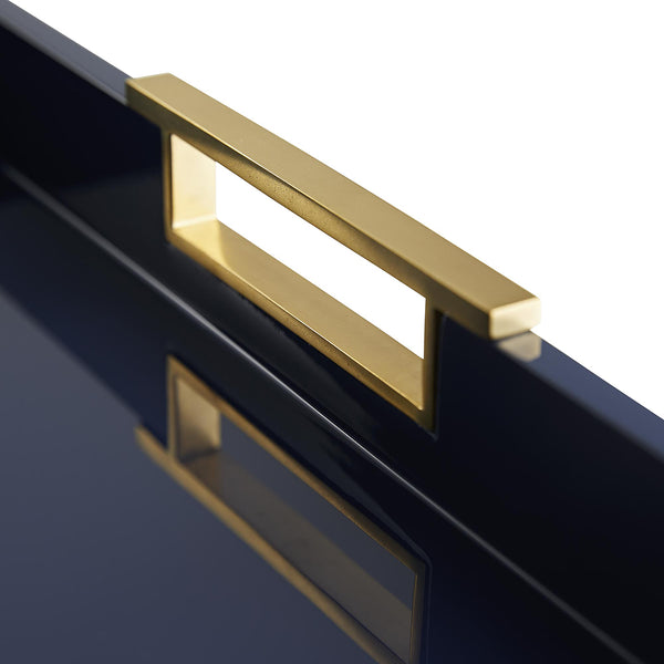Arteriors Parker Lacquered Wood Tray with Brass Handles – Large