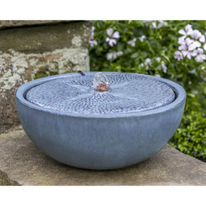 Glazed Terra Cotta Sand Dollar Fountain - French Blue