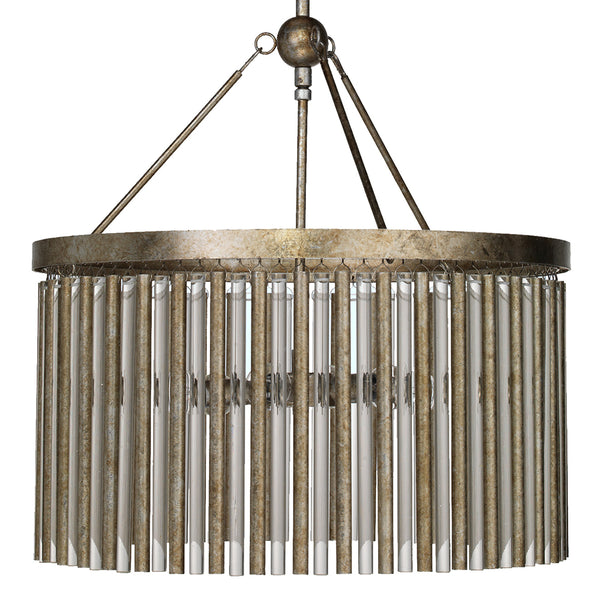 Metal & Glass Tubes Drum Chandelier – Champagne Leaf