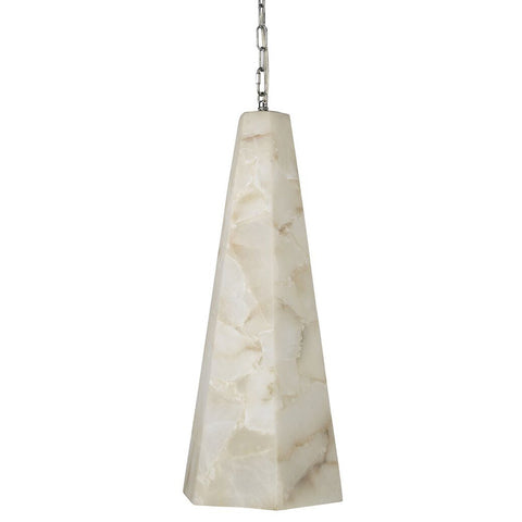 Tall Alabaster Tapered Hexagon Pendant Light