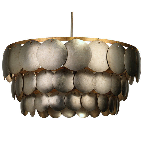 3-Tier Two-Tone Metal Scales Chandelier – Champagne Leaf