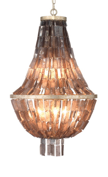 Capsize Chandelier in Black Mother of Pearl & Champagne Leaf Metal