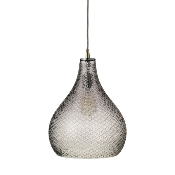 Large Cut Glass Teardrop Pendant – Grey