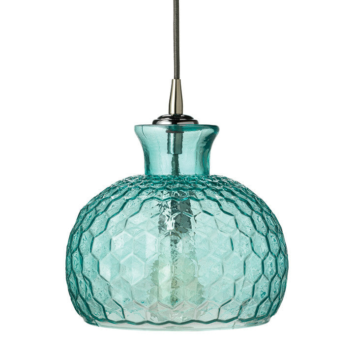 Honeycomb Pattern Glass Pendant – Aqua Blue