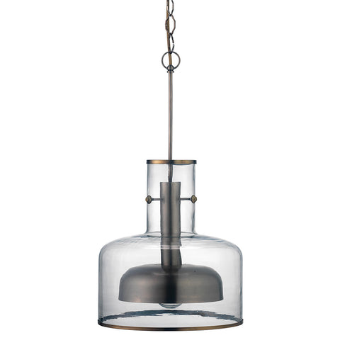 Modern Metal & Glass Pendant – Gun Metal
