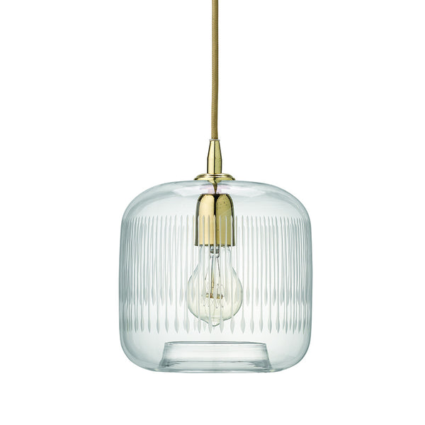 Etched Glass Pendant with Brass Hardware