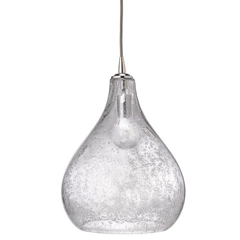 Large Seeded Glass Teardrop Pendant – Clear