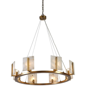 Large Contemporary Alabaster & Brass Halo Chandelier