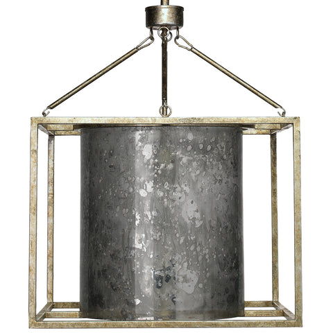 Iron Cage Pendant Light with Antique Glass Shade