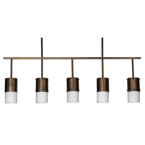 5-Light Industrial Chandelier with Oiled Bronze Patina