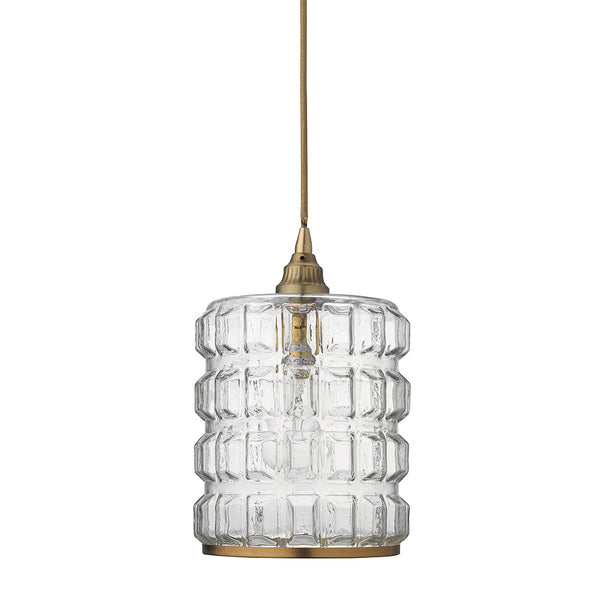 Grid Pattern Clear Glass Pendant with Brass Hardware