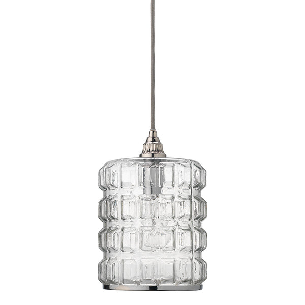 Grid Pattern Clear Glass Pendant with Nickel Hardware