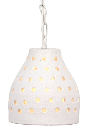 Medium Porous Pendant in Textured Matte White Ceramic