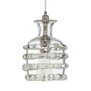 Small Hand Blown Glass Ribbon Pendant – Clear