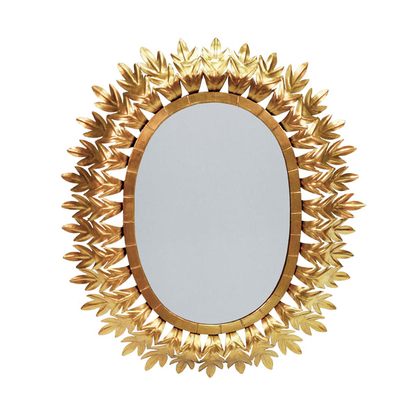 Worlds Away Oval Starburst Leaf Mirror – Gold Leaf