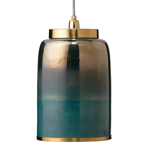 Hand Blown Glass & Brass Pendant – Aqua Ombre