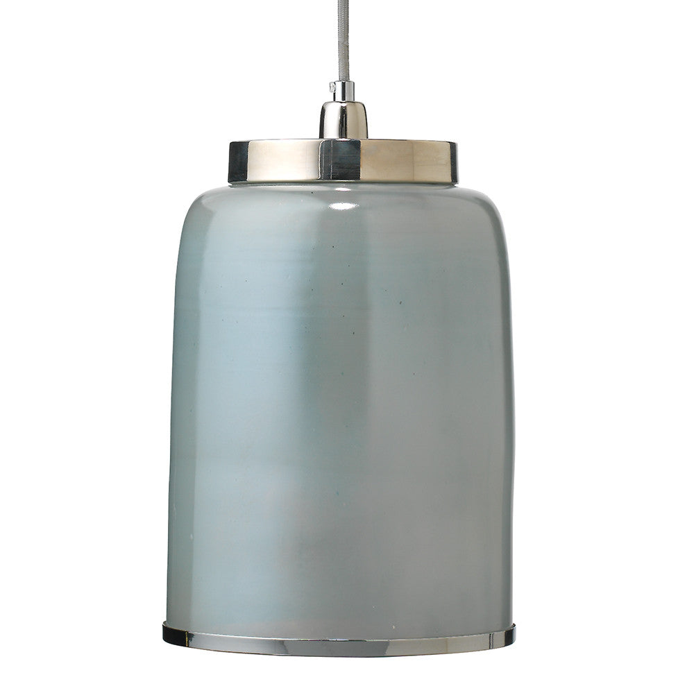 Hand Blown Glass & Nickel Pendant – Opal