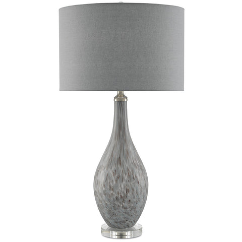 Currey and Company Tall Hand Blown Glass TeardropTable Lamp with Crystal Base