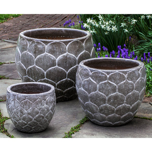 Snow Monkey Grey Pinecone Glazed Terra Cotta Planters – Set of 3