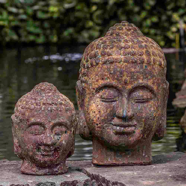 Angkor Buddha Head Sculpture - Large