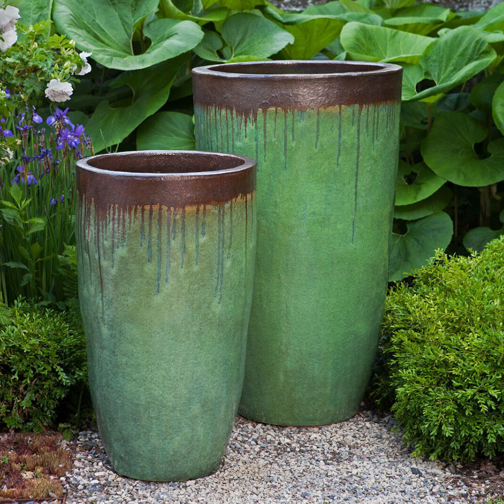 Green Glazed Terra Cotta Tapered Planters – Set of 2