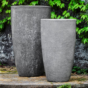 Snow Monkey Grey Tall Tapered Terra Cotta Planters – Set of 2