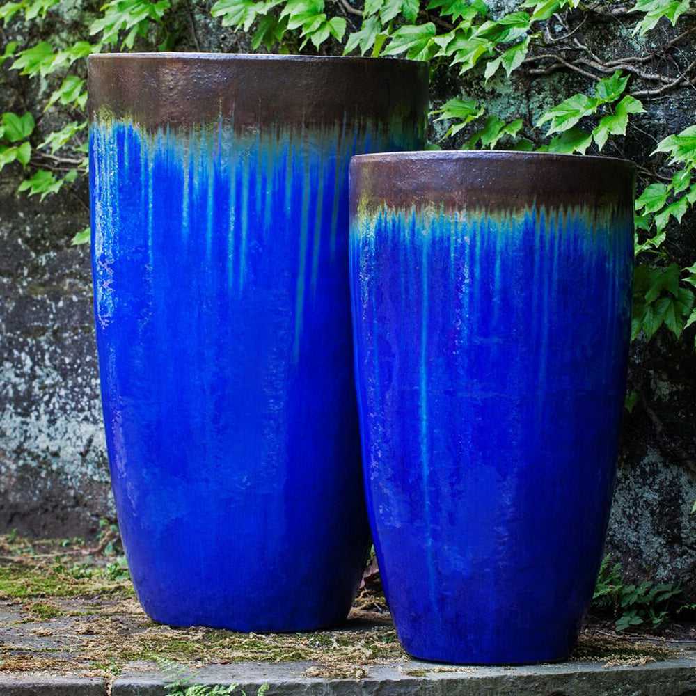 Blue Glazed Terra Cotta Tapered Planters – Set of 2
