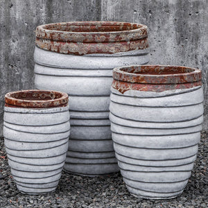 White Glazed Terra Cotta Segmented Planters – Set of 3