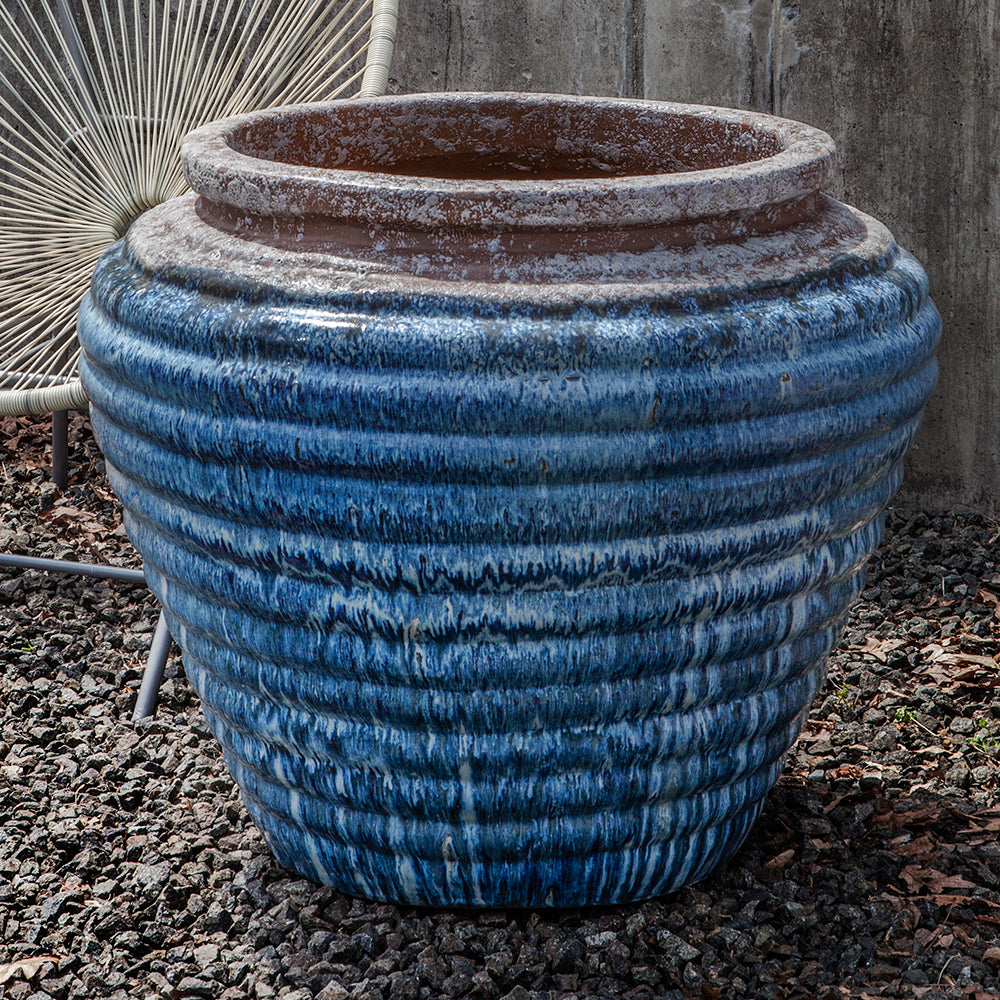 Ribbed Indoor/Outdoor Planter - Distressed Blue