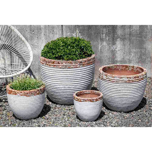 Beachcomber White Two-Tone Glazed Terra Cotta Planters – Set of 4