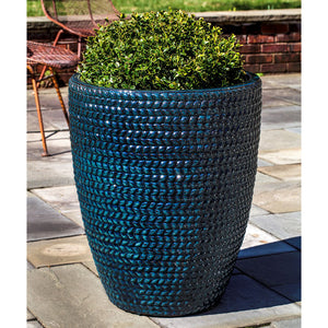 Tall Blue Sisal Weave Terra Cotta Planters – Set of 3