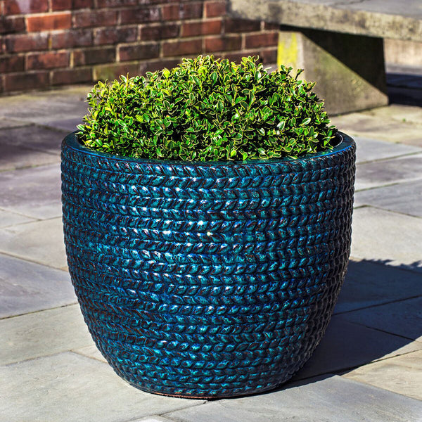 Blue Sisal Weave Terra Cotta Planters – Set of 3