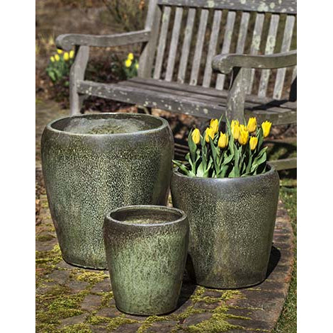 Ellesmere Simple Round Planter – Aqua Set of 3