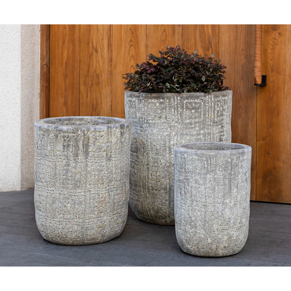 Eero Aged Tall Planter in Light Grey – Set of 3